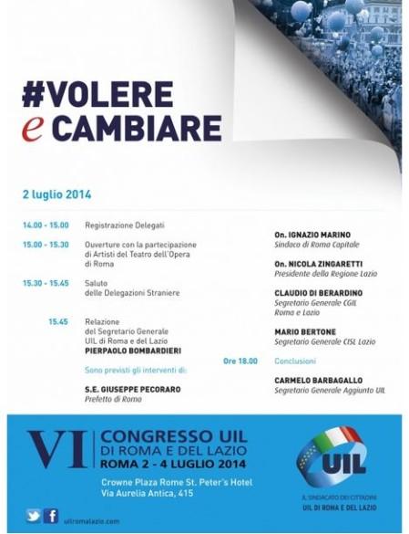 Programma 2 luglio 2014 VI - Congresso UIL di Roma e del Lazio - Crowne Plaza Rome St. Peter's Hotel - Via Aurelia Antica, 415