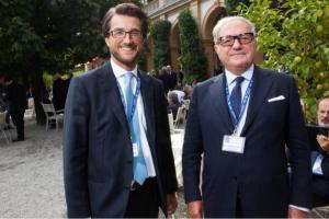 Il presidente dell'Istituto Europa Asia Achille Colombo Clerici con Stefano Simontacchi al Forum Ambrosetti di Cernobbio, settembre 2014