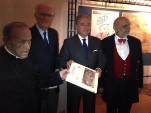 da sin. mons. Antonio Fappani, Francesco Lechi, Achille Colombo Clerici, Ivo Amendolagine