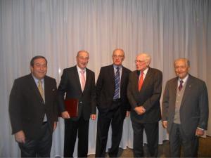 da sin.Paolo Grandi, Remigio Ratti, Bénédict de Tscharner, Flavio Cotti, Franco Masoni Fontana
