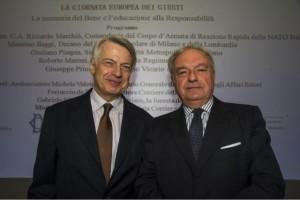 Il presidente di IEA e di Assoedilizia Achille Colombo Clerici con Ferruccio De Bortoli