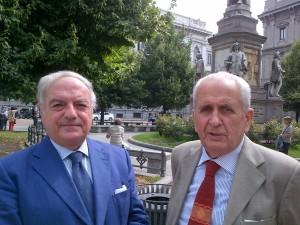 Achille Colombo Clerici presidente di Assoedilizia con Luigi Orombelli pres. Societa' Storica Lombarda
